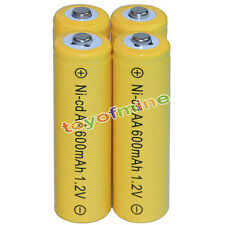 4x AA battery batteries Bulk Nickel Cadmium Rechargeable NI-cd 600mAh 1.2V Yel