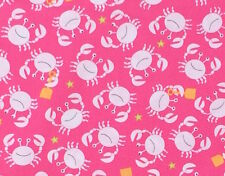 By 1/2 Yard ~ Michael Miller Sea Buddies Little Diggers Raspberry Crab Fabric