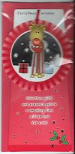 Christmas Cards 10 x 5 Christmas Wishes 3d Reindeer Ornament and Card UK Import