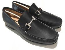 NEW SALVATORE FERRAGAMO Black Leather Gancini Bit Mens Shoe 9 UK 10 US