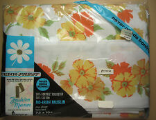 "Twin Flat Sheet ""Sunbeam"" - Yellow & Orange Flowers - New in Pkg - Penneys"