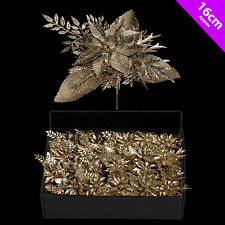 6 Christmas Poinsettia Picks Champagne Gold Decoration Tree | Wreath Decoration