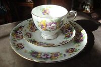 Tuscan England trios of  cup,saucer and desert plate, wild violets [*18]
