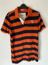 Mens Striped Polo Shirt T-shirt Size M Orange And NVy ABERCROMBIE & Fitch