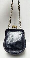 Hobo International Black Glazed Leather Kisslock Expandable Chain Evening Bag