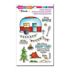 Travel Trailer Camp CLEAR Unmounted Rubber Stamp Set STAMPENDOUS SSC1253 New