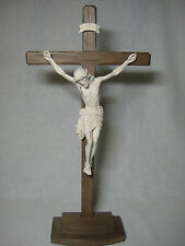 "13"" Hand Carved Standing Crucifix -  Altar or Desktop Cross - PEMA Woodcarvings"