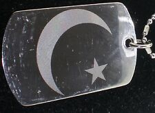 Crescent Moon Muslim Pakistan Flag Tag Pendant Necklace