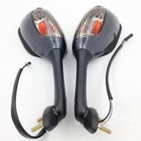 Carbon LED Turn Signals Side Rearview Mirrors For 2003-2008 Suzuki XV650 SV650S