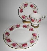 Queen Anne, Princess Roses, White & Red Roses, 3 Piece Cake or Dessert Set Trio