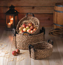 Rustic Woven Basket Oval Home Decor Set Of Three Nesting Storage Looped Handles