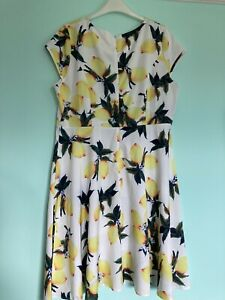 Lemon Print Summer Dress Size 14