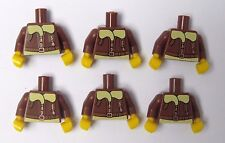 Lego 6 Torso Body For Minifigure Figure  Brown Flying Pilot Jacket Coat  Series