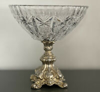 """Heavy Vintage 9"""" Tall Brass Footed Cut Crystal Compote Bowl Ornate Gold Pedestal"""