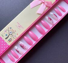 Hand Painted False Nails XL COFFIN (or ANY Shape) Pink Summer Flowers