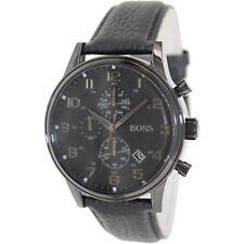 HUGO BOSS Uhr 1512567 Herren Chronograph Leder Schwarz Armbanduhr Analog Datum