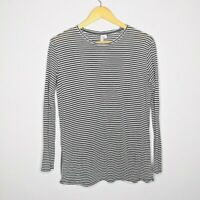 & Other Stories Women's Black White Striped Long Sleeve Top Size 6