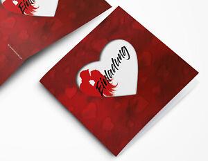 Stilvolle Herz Hochzeitskarte - Einladungskarte quadratisch in rot mit Herzen