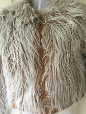 Fluffy Furry Faux Fur Faux Leather Yeti Jacket Y London Sz 12 CREAM/LIGHT BROWN