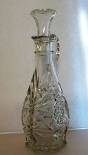 Pressed GLASS CRUET Oil & Vinegar Pitcher w/Lid STAR of DAVID PATTERN CLEAR EAPC