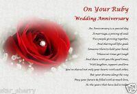 40th WEDDING ANNIVERSARY (ruby)  - Personalised Poem  (Laminated Gift)
