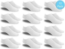Women's All White Thin and Lightweight Low Cut Ankle Socks (Value Pack of 12)