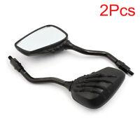 Custom Black Rear View Mirrors For Suzuki Kawasaki Motorcycle Scooter Cruiser