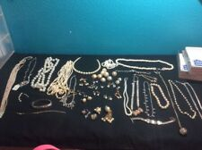 Costume jewelry lot Pearl Diamond Necklaces Earrings Mixed Jewelry Vintage