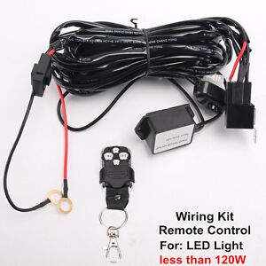 2Leads Remote Control Wiring Harness Kit Flash Strobe Switch Relay Led Light Bar