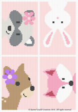 Crochet Patterns - WOODLAND ANIMAL FRIENDS Baby GIRL Graph/Chart Afghan Pattern