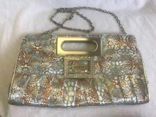 Guess satin clutch handbag, bling, rhinestone buckle, chain strap, nice!