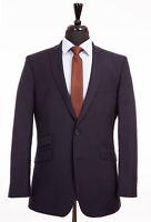 Men's British Tailor Suit Navy Blue Tailored Fit Wool Blend