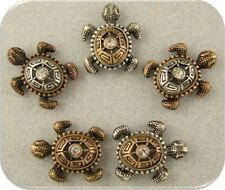 Beads Sea Turtles 3T Silver Copper Gold OCEAN Sand BEACH ~ 2 Hole Sliders QTY 5