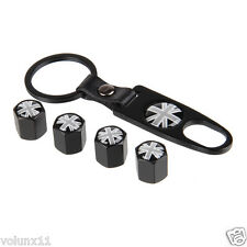 Union Jack Car Air Wheel Tyre Valve Dust Caps Covers Spanner Keying Set x 4