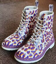 DR MARTENS WHITE/PURPLE/GOLD ANIMAL PRINT LEATHER BOOTS - UK 5 / EU 38 - SUPERB