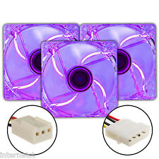 THREE PACK SUPER SILENT 3PIN - MOLEX 120MM PURPLE LED PC CASE FAN - CASE COOLING
