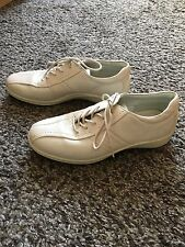 ECCO LADIES CREAM LEATHER SUEDE LACE UP FLAT CASUAL SHOES,size eur 36