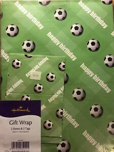 FOOTBALL Wrapping Paper Gift Wrap with 2 Sheets & Gift Tags Hallmark New