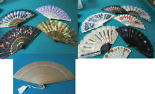 Fan Collection 12 Silk Paper Wood Bakelite Plastic
