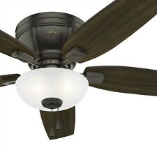 Hunter Fan 52 in. Low Profile Noble Bronze Ceiling Fan with LED Bowl Light Kit