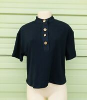 NWT ZARA BLACK T-SHIRT with contrasting buttons short sleeve SIZE S #561