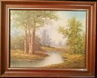 Huile sur toile F. Steward Printemps Foret Paysage rivière Scène