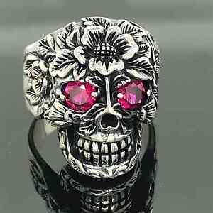 Turkish 925 Sterling Silver Ruby Gothic Skull Biker Luxury Men's Ring All Sizes