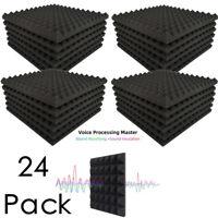 "24 Pack Acoustic Foam Panels Pyramid Soundproofing Studio Tiles 1"" X 12"" X 12"""