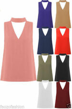Cut Out Stretch Sleeveless Tops & Shirts for Women