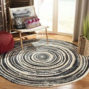 Rug 100% Natural Jute & cotton Braided Hemp Reversible carpet Modern area Rug