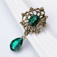 Vintage Silver Rhinestone Crystal Wedding Bridal Bouquet Brooch Pin Gift #GREEN