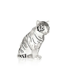 Lalique  Sitting Tiger Grand Sculpture, Clear - Black