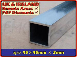"Aluminium Square Tube║1.75""45mm║(box section,profile,pipe,tubing,alloy,alu)"