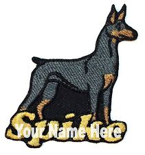 Doberman Pinscher Dog Custom Iron-on Patch With Name Personalized Free